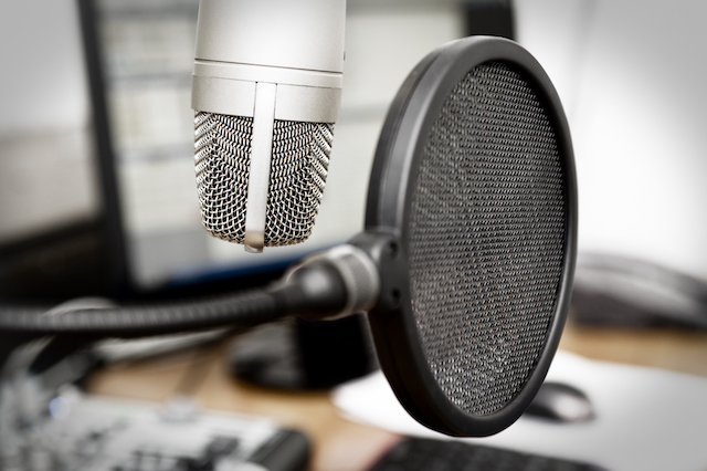 Studio microphone used to record overhead messages for Cloud Cover Music subscriber.